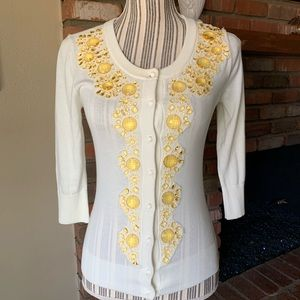 Kate Spade Ivory Cardigan Sweater Yellow Sequin XS